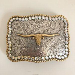 Big Longhorn Cowboy Cowgirl Belt Buckle